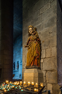 Lady Madonna sculpture in old medieval church, Bretagne
