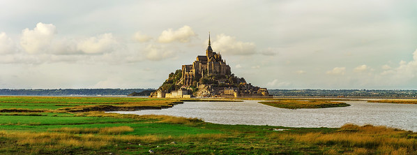 Mont Saint-Michel monastery high resolution panoramic view, France
