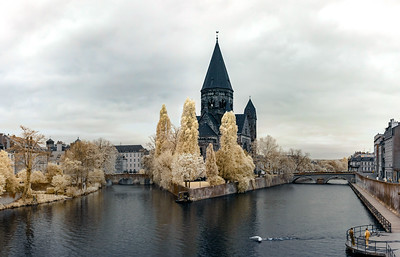 Infrared panoramic view of medieval cathedral in Metz