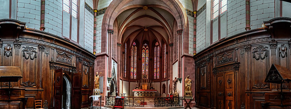 Majestic old church interior panoramic view
