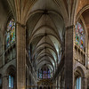 Majestic interior of old romain Auxerre Cathedral