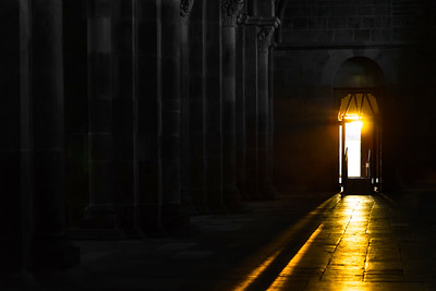 Way of sunset sunlight inside the basilique of Vezelay, France