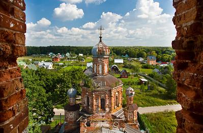 Old beautiful orthodox church bird-fly view