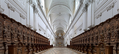 Belgian abbey Floreffe interior panoramic view, beautiful wooden decoration