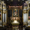 Majestic indoor details of old baroque church, Ebersmunster abbey, Alsace