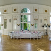Big majestic banquet hall ready for wedding dinner