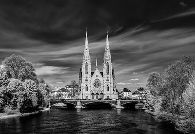Church Saint Paul panoramic infrared view, Strasbourg