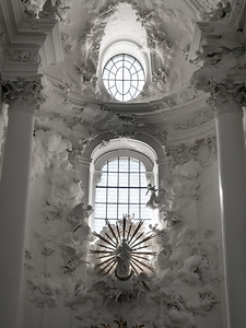 Amazing white church interior in Austria. Panoramic view of Kollegienkirche