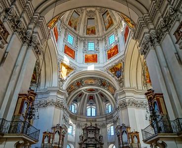Beautiful baroque interior of Salzburg cathedral