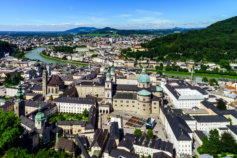 Roofs of Salzburg, aerial view, summer day