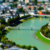 Tilt-shift aerial view to Salzburg, miniature effect