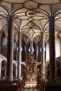 Franciscan Church in Salzburg. Amazing cathedral interiors with very tall columns.