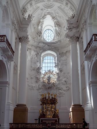 Amazing white church interior in Austria. Panoramic view of Kollegienkirche