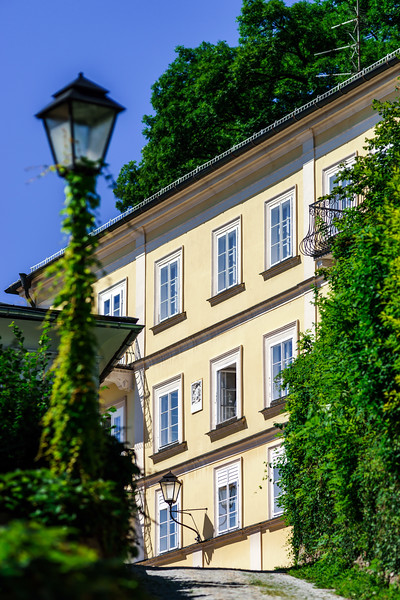 Street, buildings and windows, old center of Salzburg