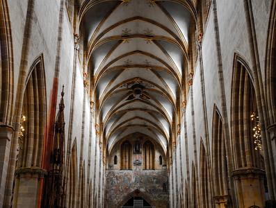 Stunning interior of the tallest cathedral in Germany, the cathedral of the city of Ulm.