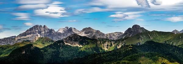 Stunning alpine scenery in Austria, near the village of Grossarl. Panoramic view. A high resolution. Peaks of the Alps.
