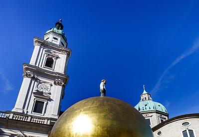Elegant high church tower in Salzburg