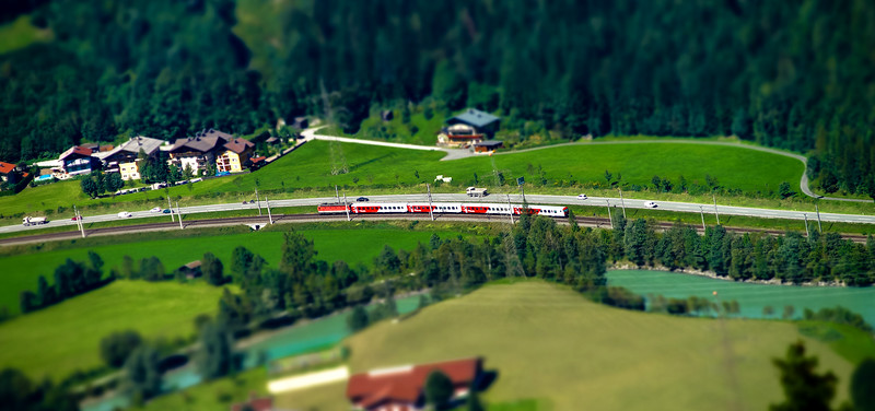 Miniature aerial view of train on railway