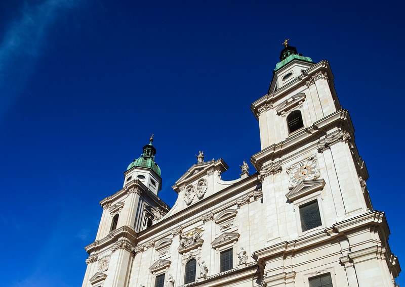 Elegant high church tower in Salzburg