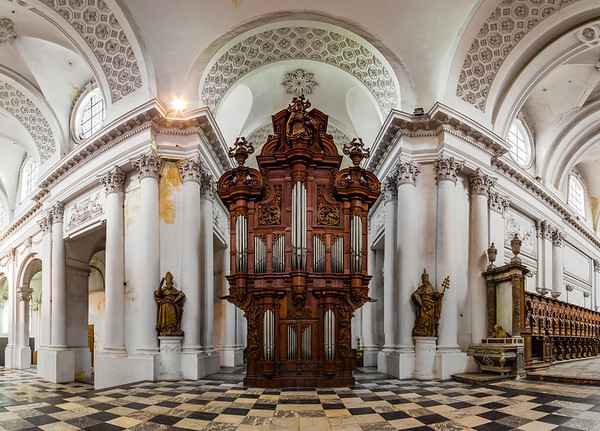 Belgian abbey Floreffe interior panoramic view, beautiful wooden decoration