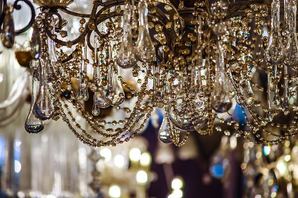Vintage crystal luster in antique shop