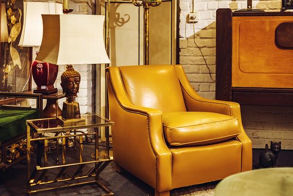 Old vintage furniture in antique shop, Bruxelles