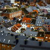 Tilt-shift panoramic aerial view of Namur, spring day