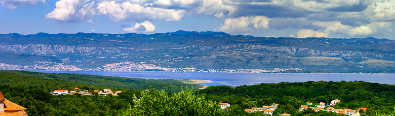 Wide panoramic view of Adriatic sea in Croatia