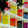 Beautiful colorful fasade of new hotel on sea resort.