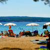 Tilt-shift beach view in warm weather on sea resort