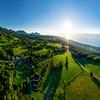 Geneva lake aerial panoramic view from drone