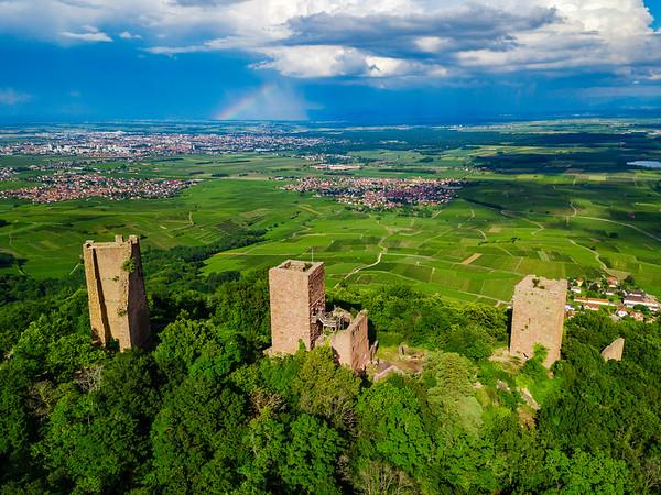Ruins of Three castles near Colmar, Alsace. Aerial drone view
