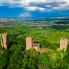 Ruins of Three castles near Colmar, Alsace. Aerial drone view