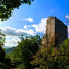 Old medieval fortress ruins of Chateau de Ramstein in deep forest, Alsace