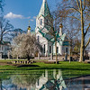 Beautiful orthodox russian church in Strasbourg, with reflections like a mirror, sunny day