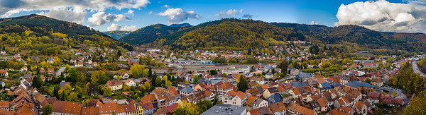 Autumnal panorammic aerial view of city Schirmeck in Alsace
