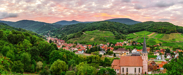 Panoramic view to Andlau from the hill. Vineyards in France.