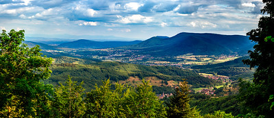 Spacious mountain landscape. A view from the hill to the valley of Alsace.