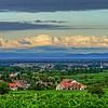 Landscape of Alsace, vineyards and villages, sunset time, France