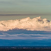 Beautiful evening sunset clouds ans silhouette of Black Mountains in Germany