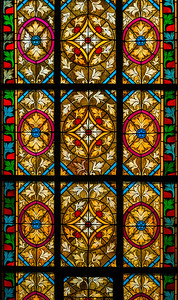 Colorful leaded pane in old church