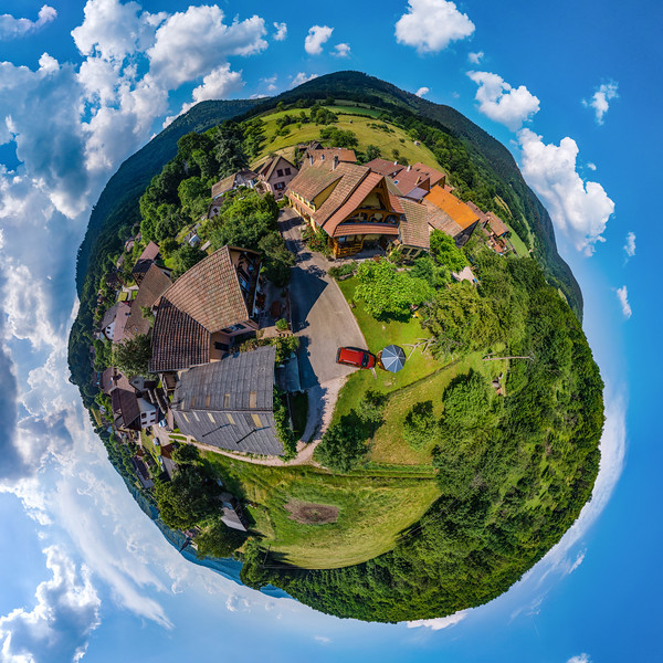 Spherical little planet view of little village Breitenbach in Alsace
