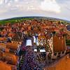 Aerial drone view of music festival in Dambach-la-ville, Alsace, France