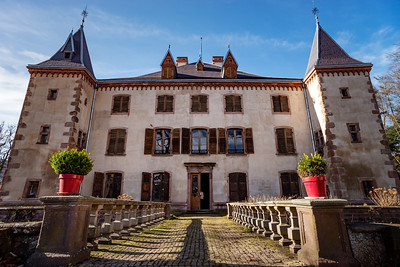 Ancient medieval castle in Alsace. France. View of the walls, towers and the main house. Partly abandoned condition.