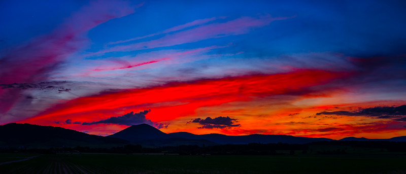 Majestic colorful sunset high resolution panoramic view, Alsace