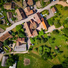 Overview from drone to the little village, topographic style