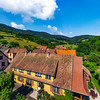 Old but renovated village house in countryside aerial view