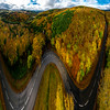 A view from a drone of a rusty forest. Autumn colors and amazing vistas of the Vosges mountains.