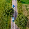 Vertical panoramic view of road made from drone. Useful for  tall banner.