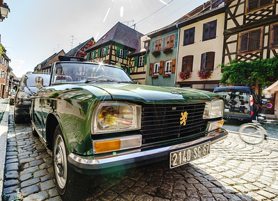 Editorial: 5th August 2018, Barr, Alsace, France. Retro car Peugeot 304 in beautiful condition